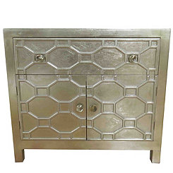 Small Antique Champagne Skylar 2-Door Cabinet
