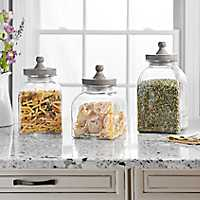 Graywash Farmhouse Glass Canisters, Set of 3