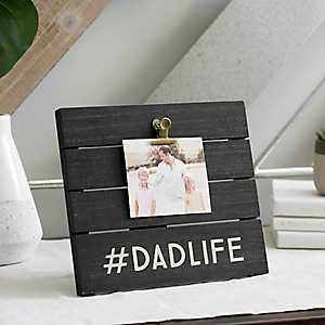 Dad Life Wood Plank Picture Frame with Clips, 6x4
