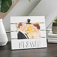 Blessed Wood Plank Picture Frame with Clip, 6x4