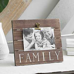 Family Wood Plank Picture Frame with Clip, 6x4