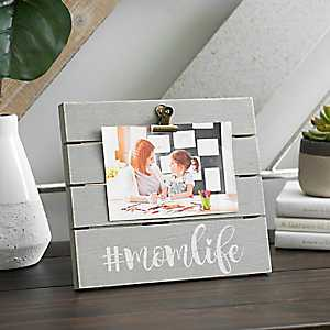Mom Life Wood Plank Picture Frame with Clip, 6x4