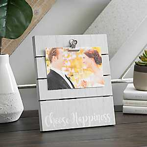 Happiness Wood Plank Picture Frame with Clip, 4x6