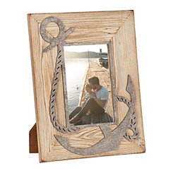 Wood and Metal Anchor Picture Frame, 4x6