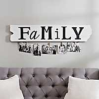 Ruler Board Family Collage Frame with Clothespins