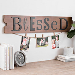 Ruler Board Blessed Collage Frame with Clothespins
