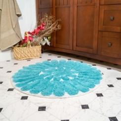 Aqua Bursting Flower 2-pc. Round Bath Mat Set