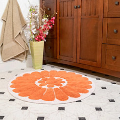 Coral Bursting Flower 2-pc. Round Bath Mat Set