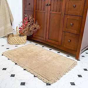 Linen Crochet Trim 2-pc. Bath Mat Set