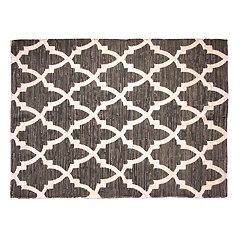 Gray and White Sawyer Chindi Printed Area Rug, 5x7