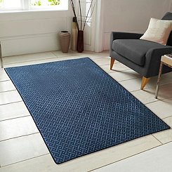 Teal Geometric Block Memory Foam Accent Rug