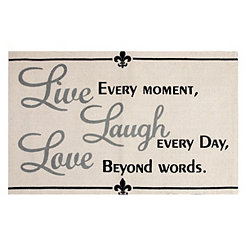 Live Laugh Love Typography Accent Rug, 3x6