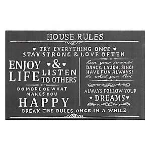 House Rules Typography Accent Rug, 3x7