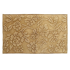 Earthy Ocher Floral Stonewashed Accent Rug