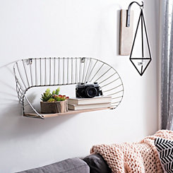 Round Metal and Wood Shelf