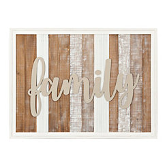 Family Plank Washed Framed Wall Plaque