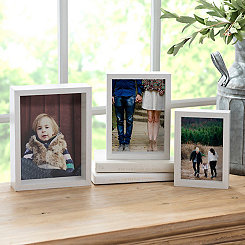 White Wood Grain Nested Set of 3 Picture Frames