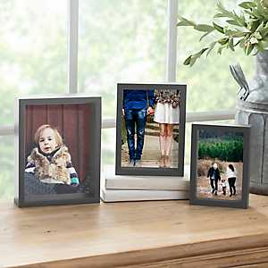 Gray Woodgrain Nested Set of 3 Picture Frames