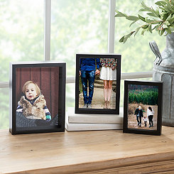 Black Wood Grain Nested Set of 3 Picture Frames