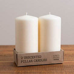 6 in. Ivory Pillar Candles, Set of 2