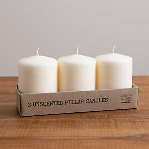 4 in. Ivory Pillar Candles, Set of 3