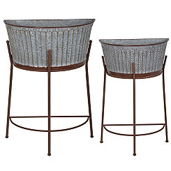 Galvanized Metal Half Moon Standing Planters, Set