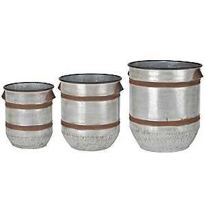 Rustic Galvanized Metal Tub Planters, Set of 3