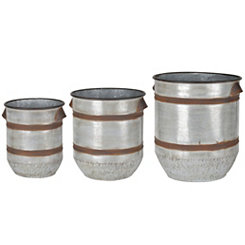Rustic Galvanized Metal Tub Planters, Set of 3