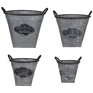 Flowers And Garden Galvanized Planters, Set of 4