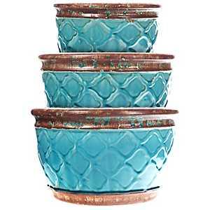 Aqua Moroccan Ceramic Planters, Set of 3