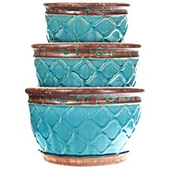 Aqua Moroccan Ceramic Planters, Set of 3
