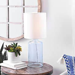 Aqua Seeded Glass Table Lamp