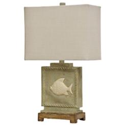Aged Cream Fish Coastal Table Lamp