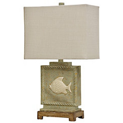 Aged Cream Fish Coastal Table Lamp