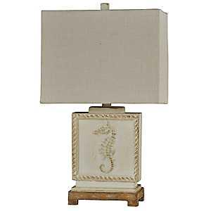 Aged Cream Seahorse Coastal Table Lamp