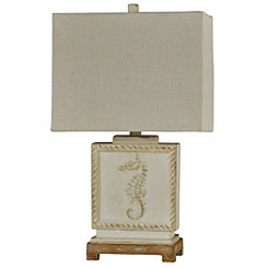 Aged Cream Seahorse Coastal Table Lamp