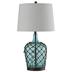Aqua Hammered Glass with Net Table Lamp