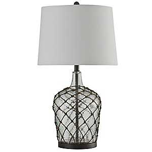 Clear Hammered Glass with Net Table Lamp