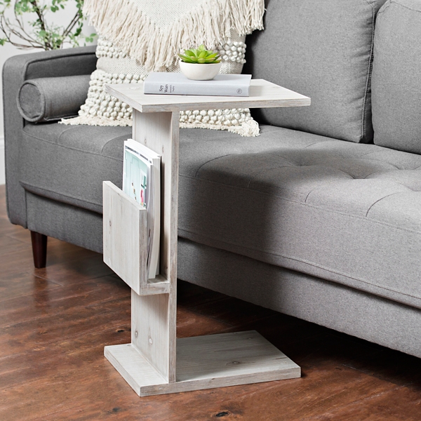 Natural Wood C Table With Magazine Holder
