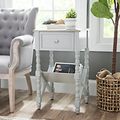 Sydney Gray Spool Leg Accent Table