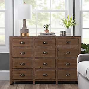 Natural Wood 12-Drawer Chest