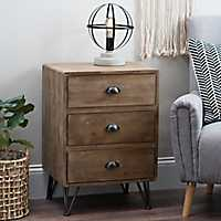 3-Drawer Hairpin Legs Side Table