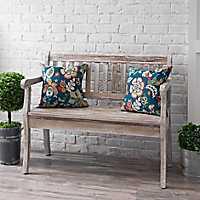 Graywashed Wood Storage Bench