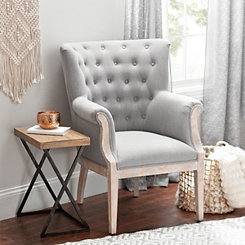 Rachel Linen Slate Accent Chair