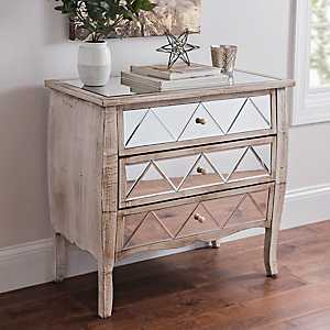 Mirrored Distressed Wood 3-Drawer Chest