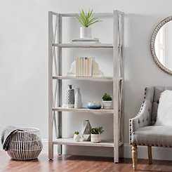 Distressed Gray 4-Tier Folding Shelf