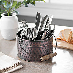 Bronze Bucket Flatware Caddy