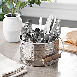 Silver Bucket Flatware Caddy