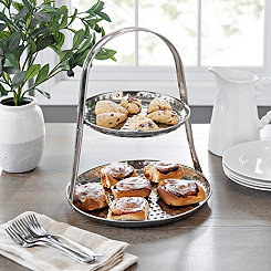 2-Tier Silver Serving Tray