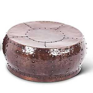 Round Antique Copper Coffee Table